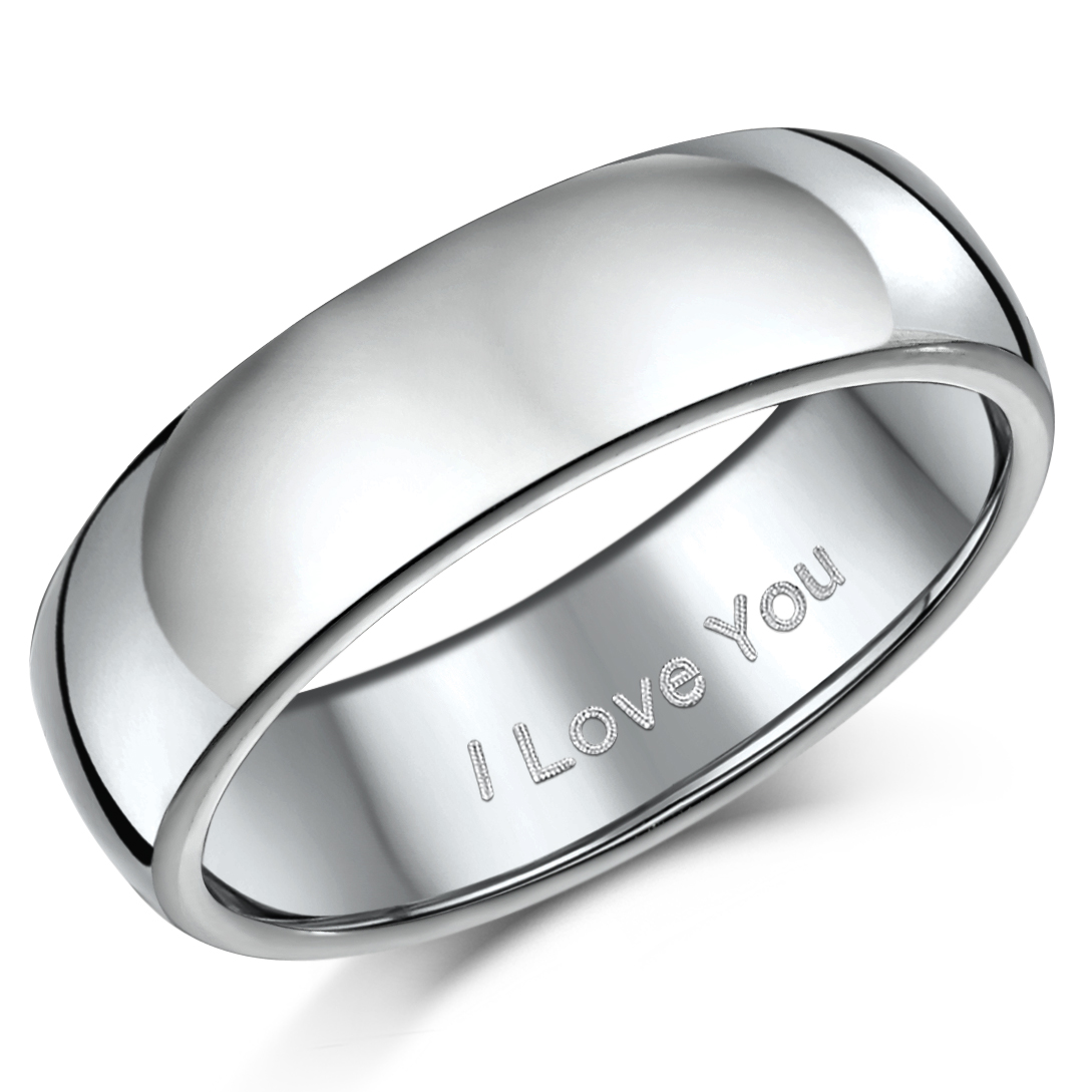 "7mm Titanium Court Shaped Ring Engraved ""I Love You"""
