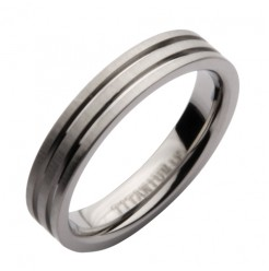 4mm Titanium Grooved Wedding Ring