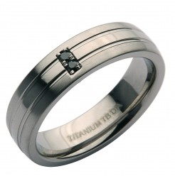 6mm Titanium Matt & Polished Black Diamond Ring