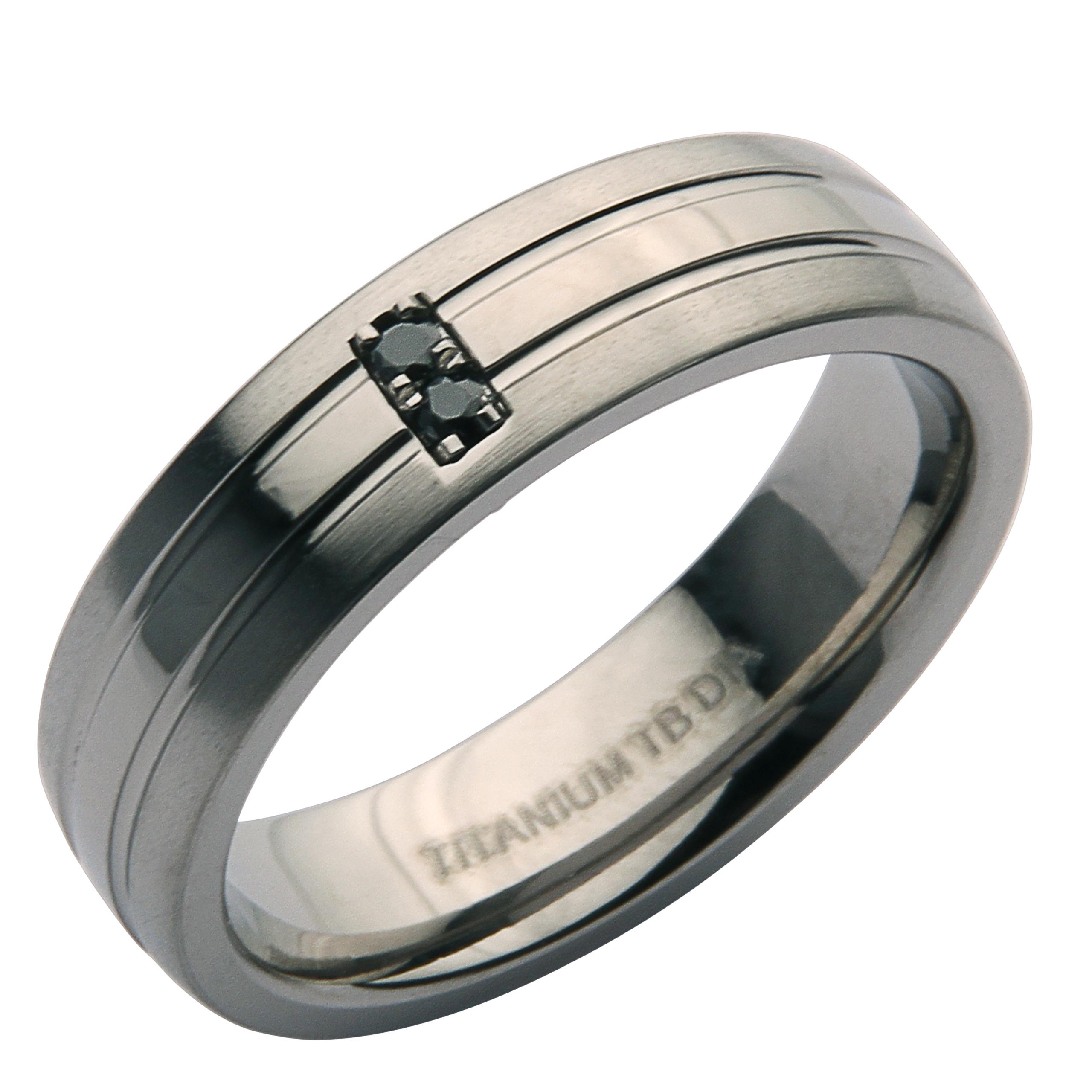 6mm Titanium Matt & Polished Black Diamond Ring