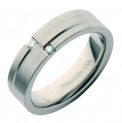 6mm Titanium Matt Designer Diamond Engagement/Wedding Ring Band