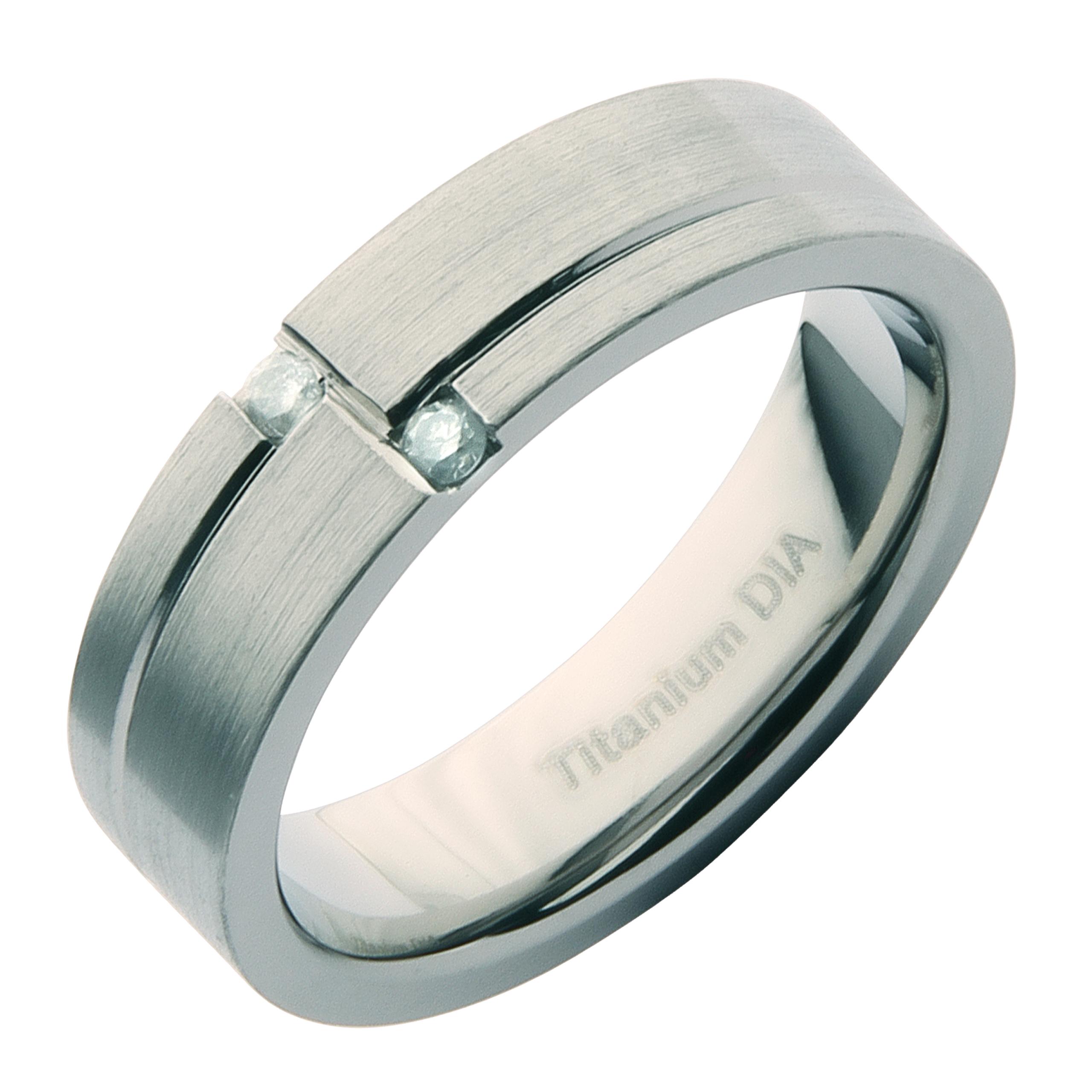 6mm Titanium Matt Designer Diamond Engagement/Wedding Ring Band