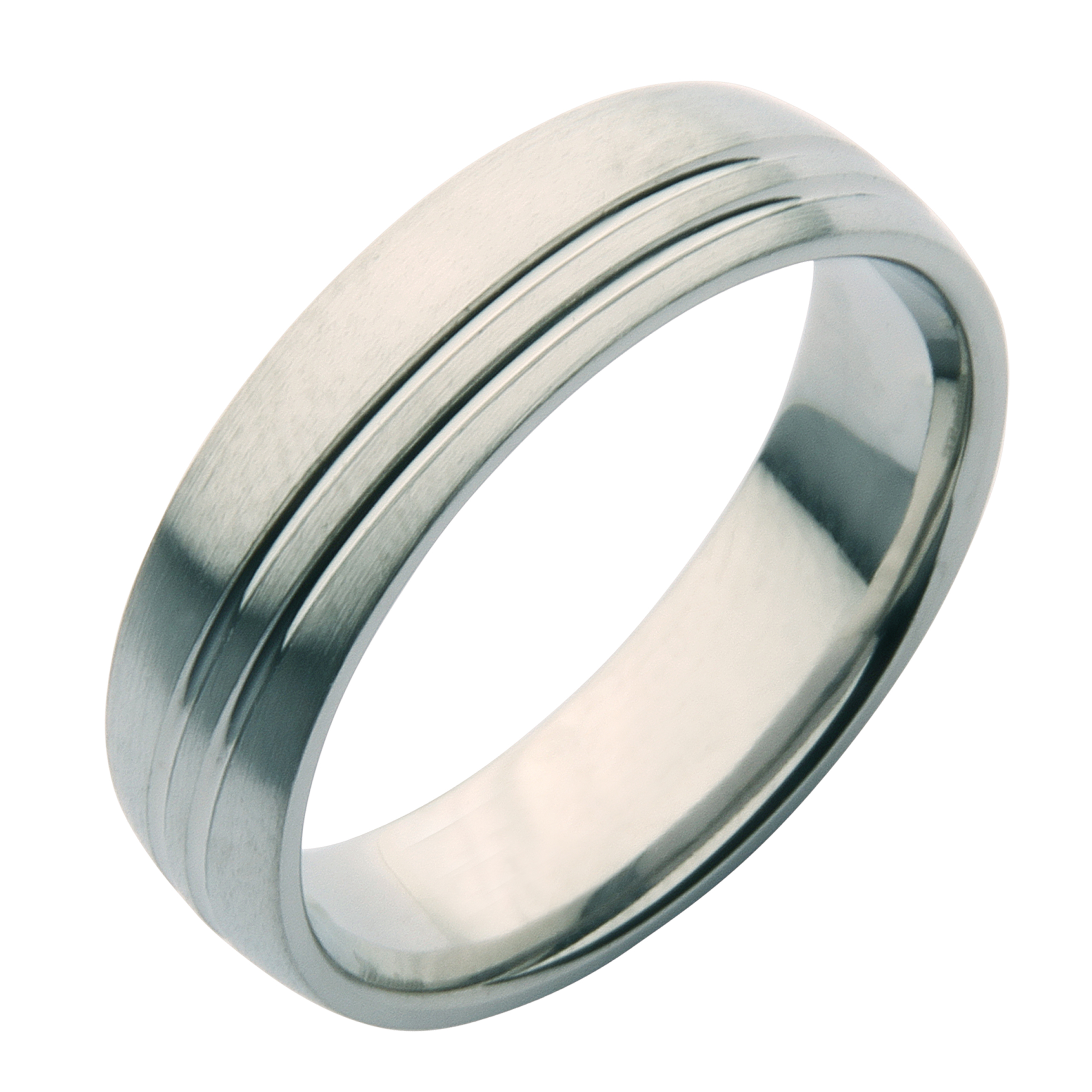 6mm Cobalt Grooved Patterned Wedding Ring Band