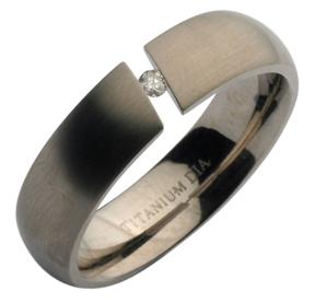 6mm Titanium Tension Set Diamond Wedding Band Engagement Ring