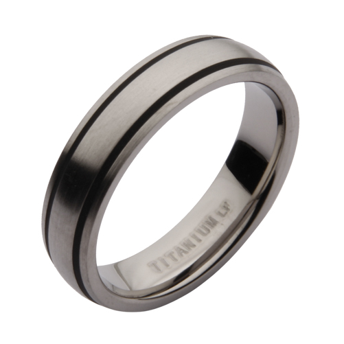 5mm Titanium Black Enamelled Wedding Ring
