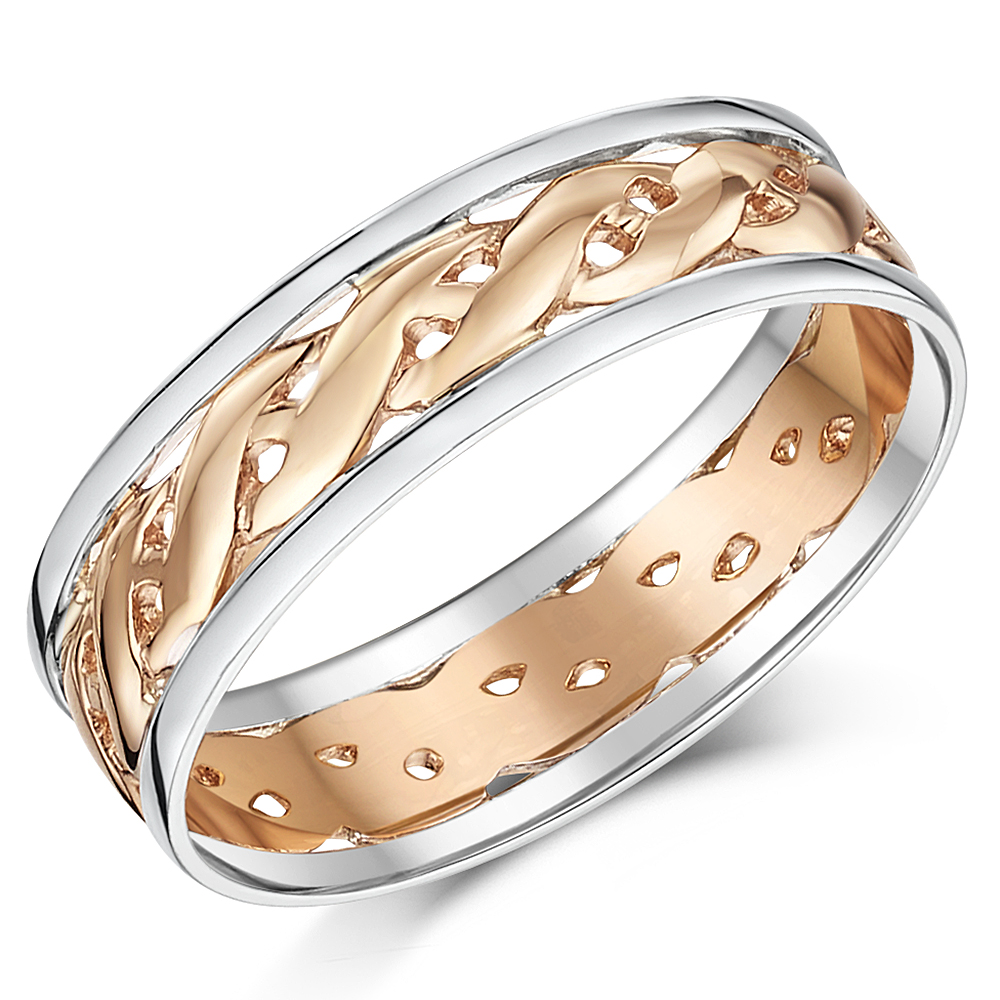 6mm 9ct Two Colour Rose Gold Celtic Wedding Ring Band