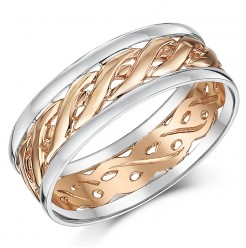 7mm 9ct Two Colour Rose Gold Celtic Wedding Ring Band
