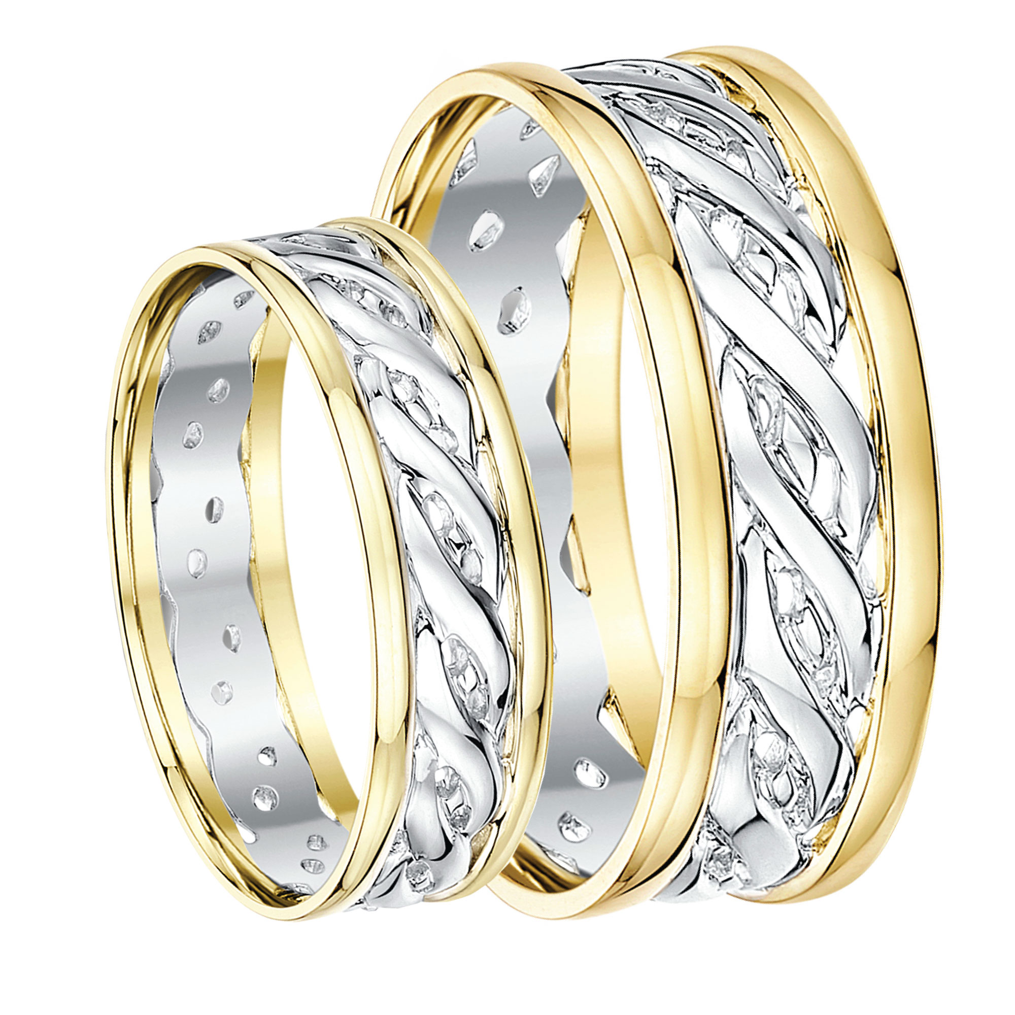 his hers 6 7mm 9ct gold two colour celtic wedding rings 9ct