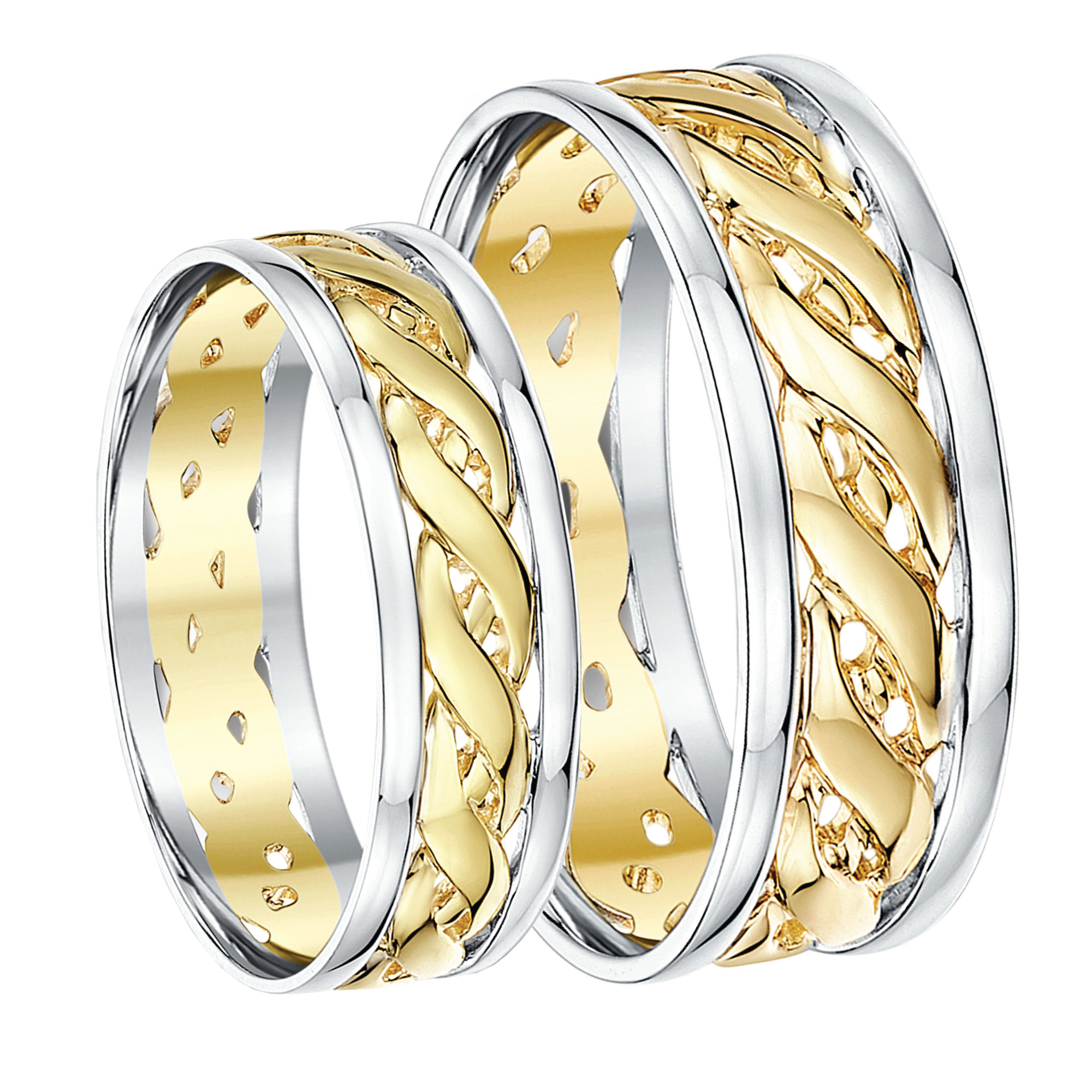 His & Hers 6&7mm Two Colour Yellow Gold & Sterling Silver 925 Celtic Weddin