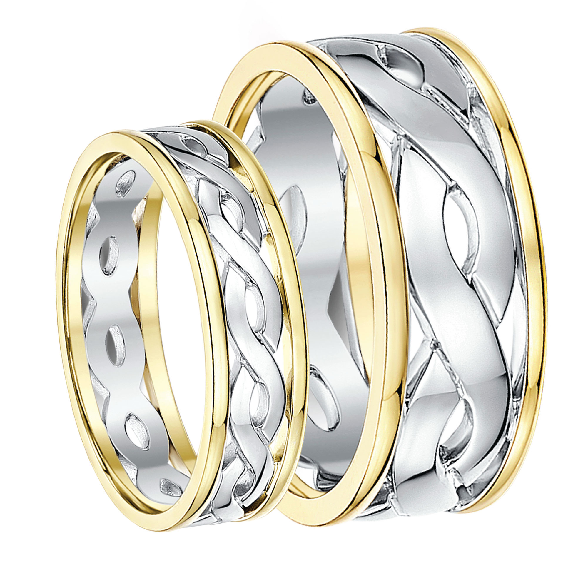 His & Hers 5&7mm 9ct Gold Two Colour Celtic Wedding Rings