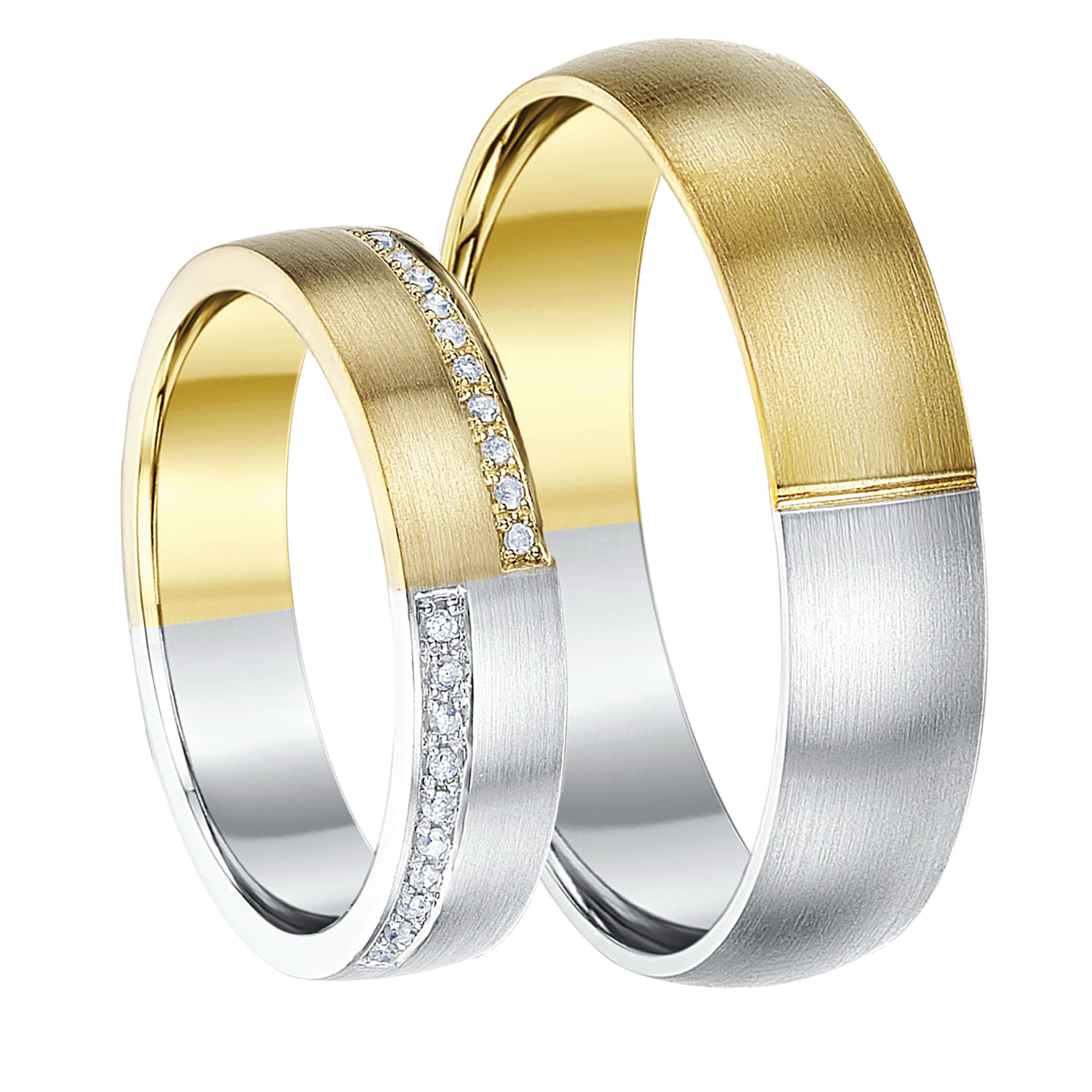 His & Hers 5&6mm 9ct Two-Colour Diamond Wedding Rings