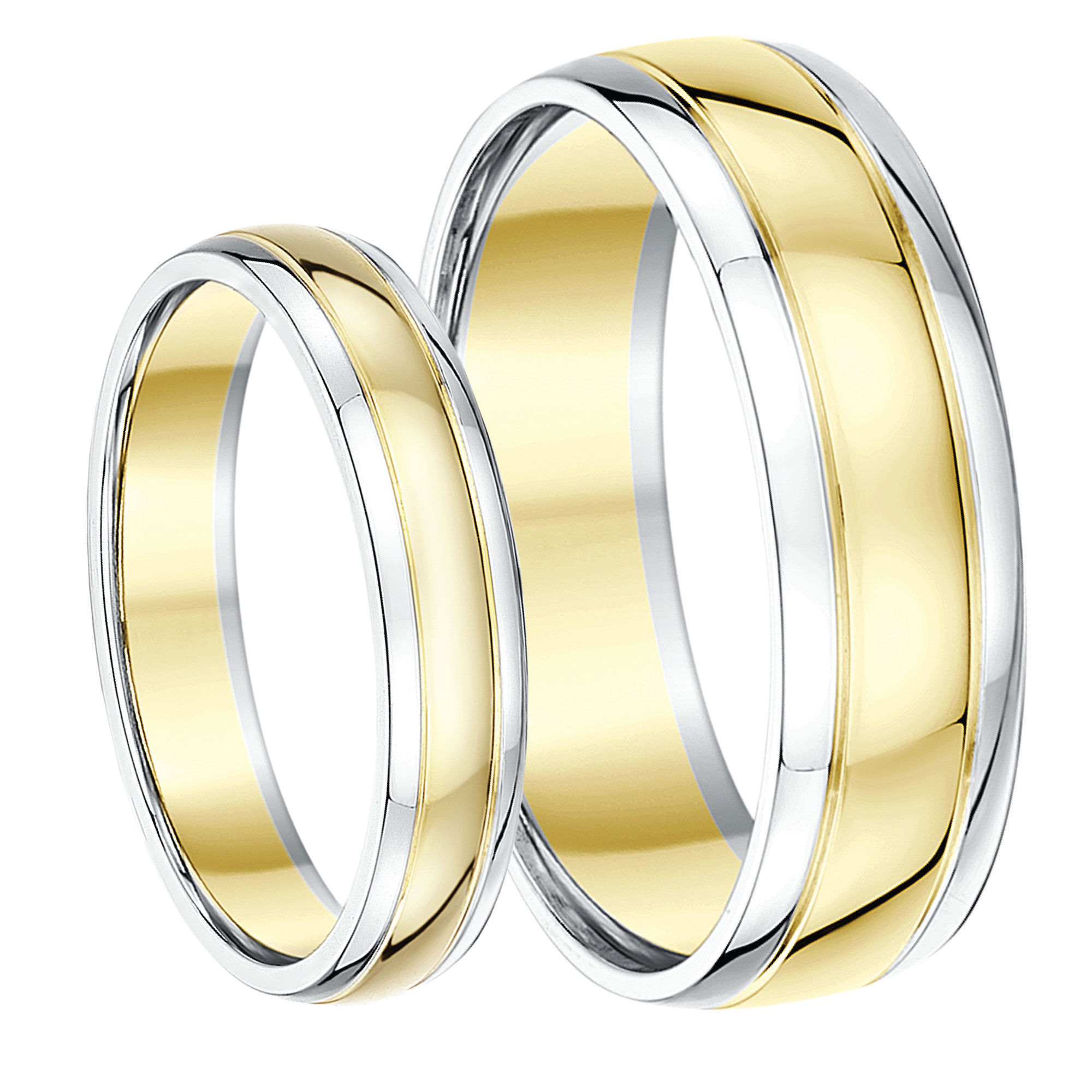 His Hers 46mm 9ct Two Colour Wedding Ring Bands