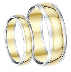 His & Hers 5&7mm 9ct Two-Colour Wedding Ring Bands