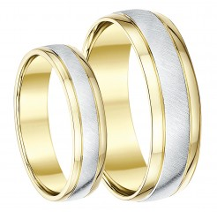 His & Hers 5&6mm 9ct two-colour Designer Wedding Ring Band