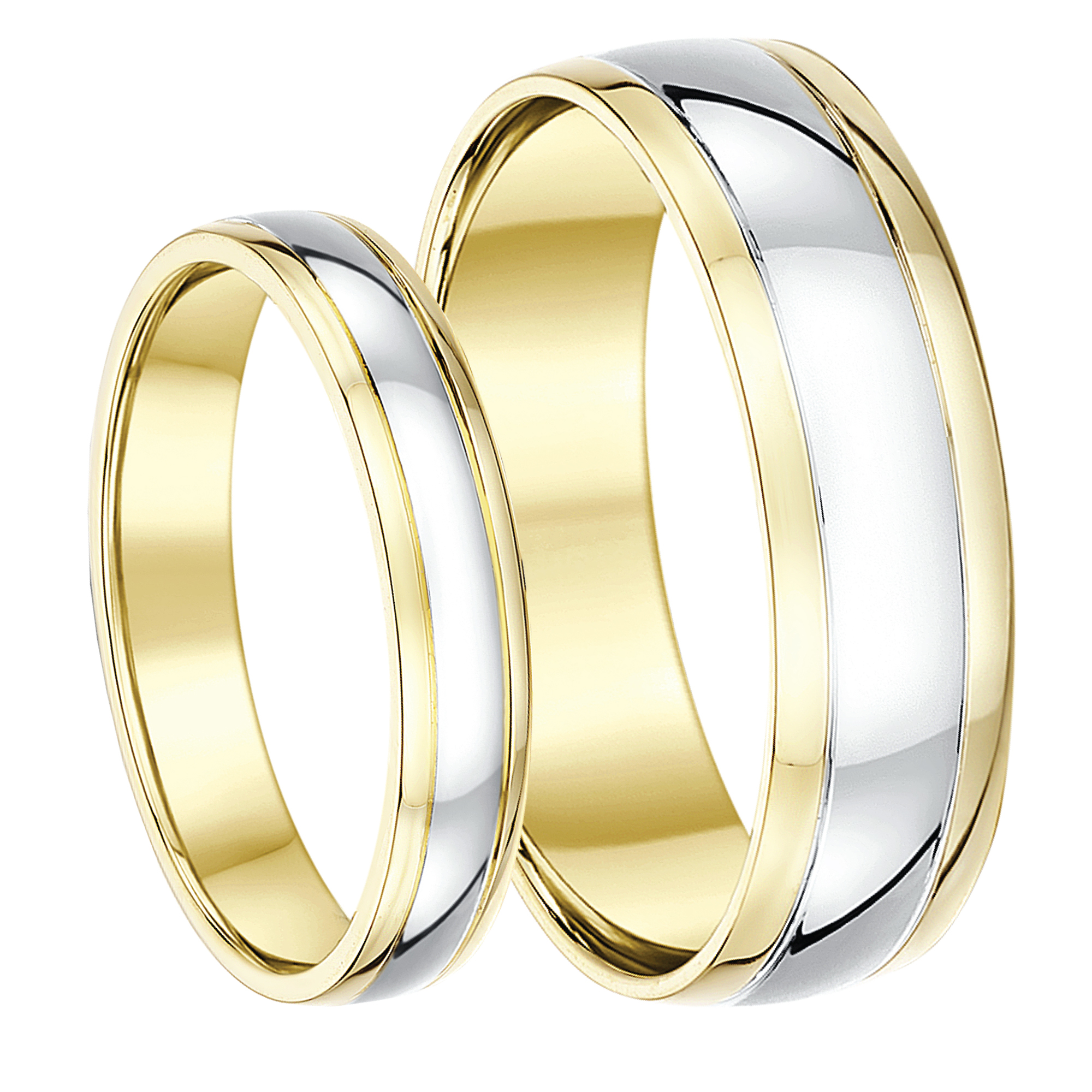 His & Hers 4&6mm 9ct Two Colour Wedding Ring Bands