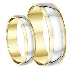 His & Hers 5&7mm 9ct Two-Colour Wedding Ring Band