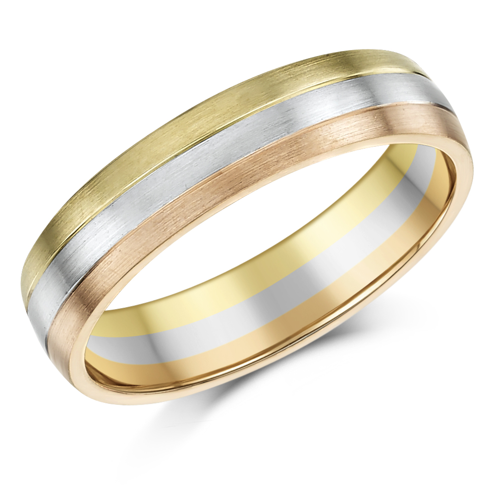 5mm 9ct Gold 3 Colour Court Shape Wedding Ring Band