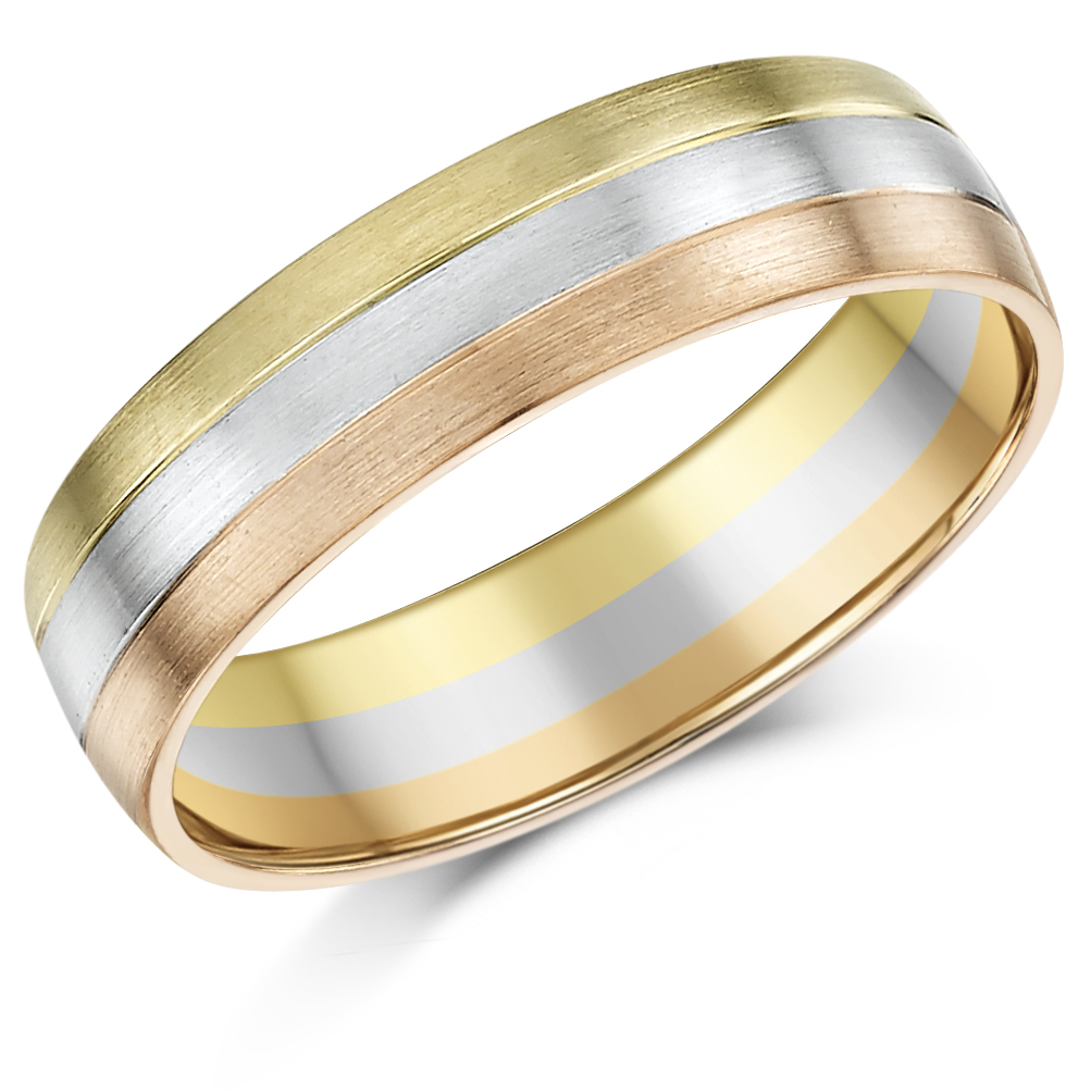 6mm 9ct Gold 3 Colour Court Shape Wedding Ring Band