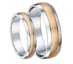 His & Hers 4&6mm 9ct Rose Gold & Silver Matt & Polished Wedding Ring's Set