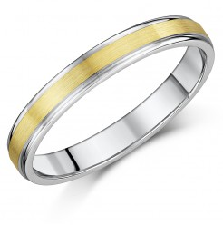 3mm Two Colour 9ct Yellow Gold & White Gold Wedding Ring Band
