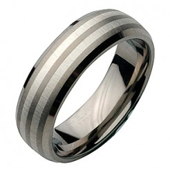 7mm Titanium Silver Inlaid Bevelled Edge Wedding Ring Band