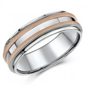 7mm Titanium & 9ct Rose Gold Wedding Ring Band