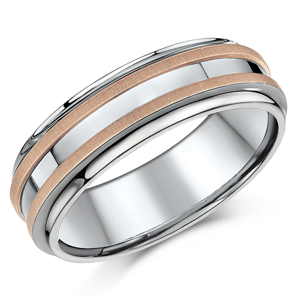 7mm Titanium & 9ct Rose Gold Wedding Ring Band