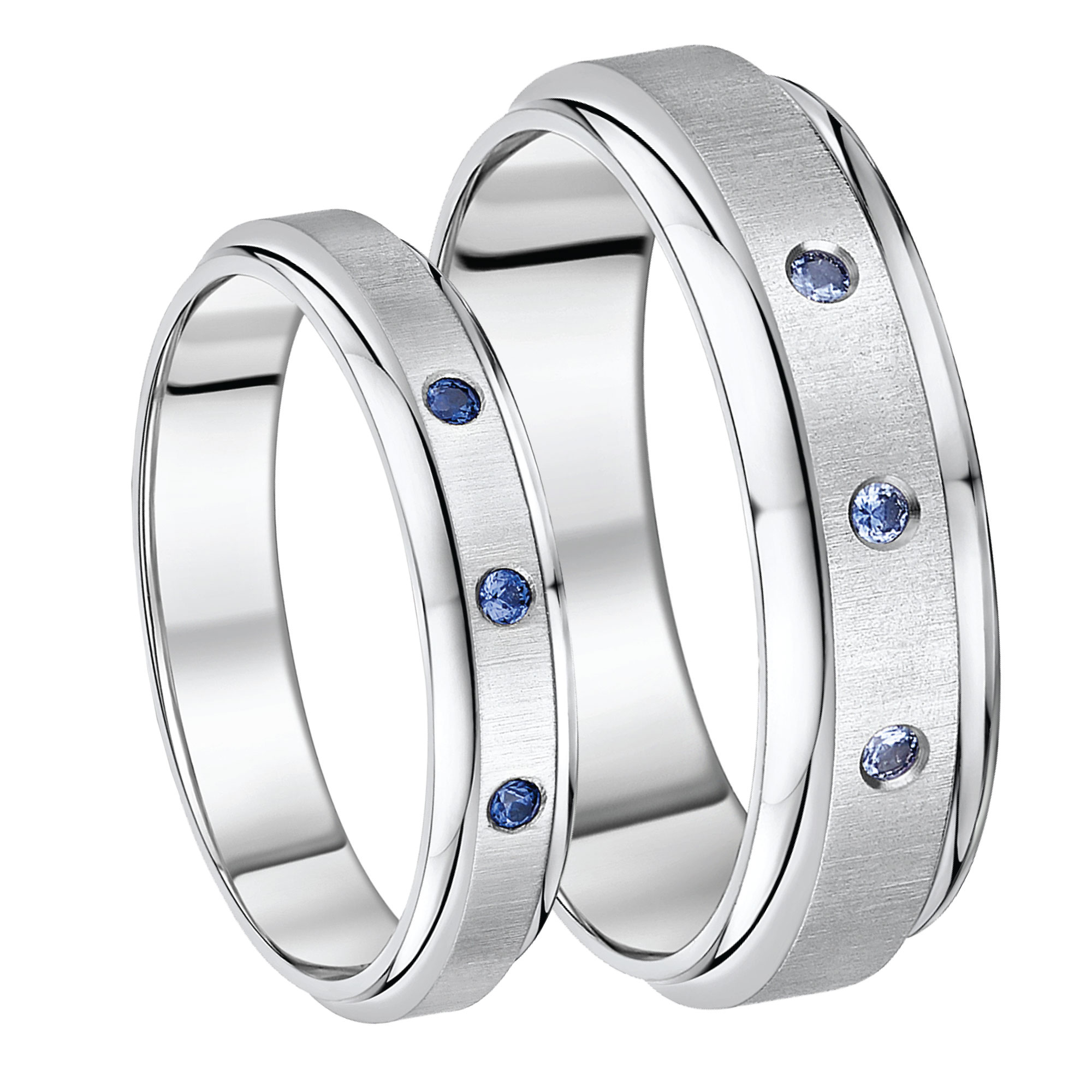 His & Hers Titanium Sapphire Set Wedding Bands 5&7mm