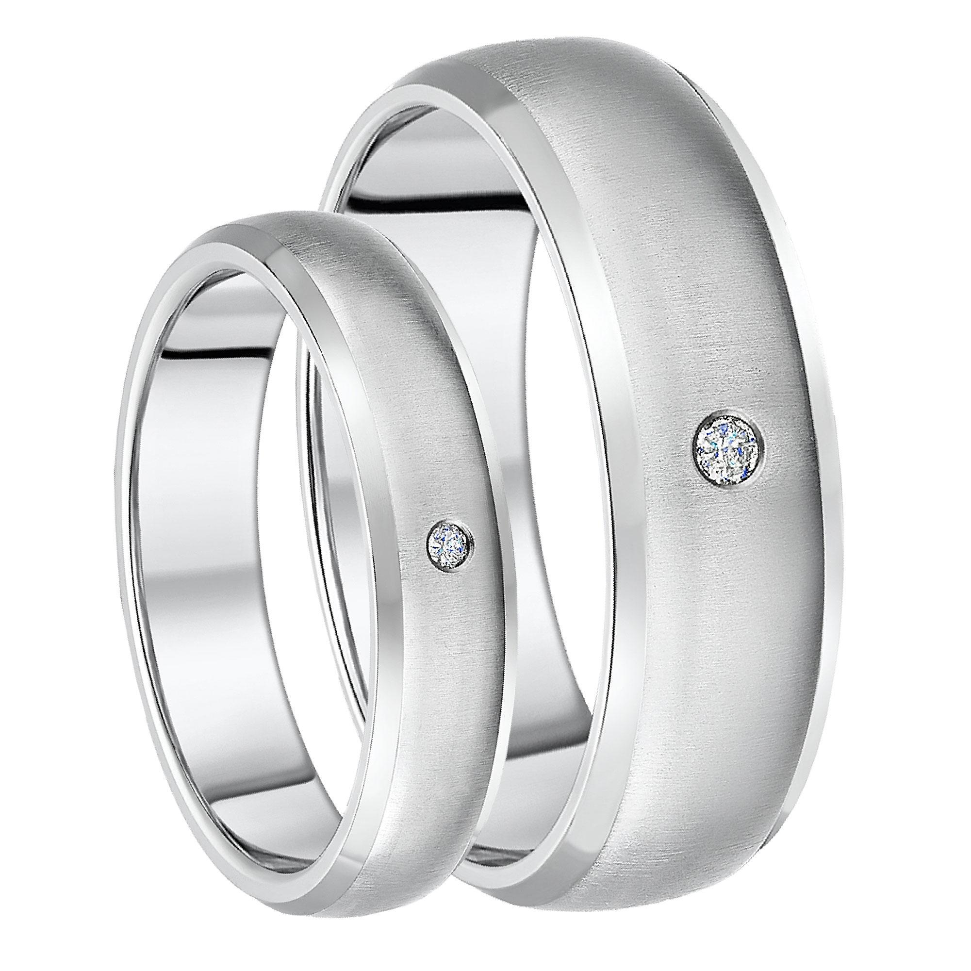 His & Hers Diamond Titanium Wedding Bands 5&7mm