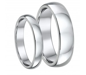 His & Hers Titanium Court Wedding Rings 4&6mm