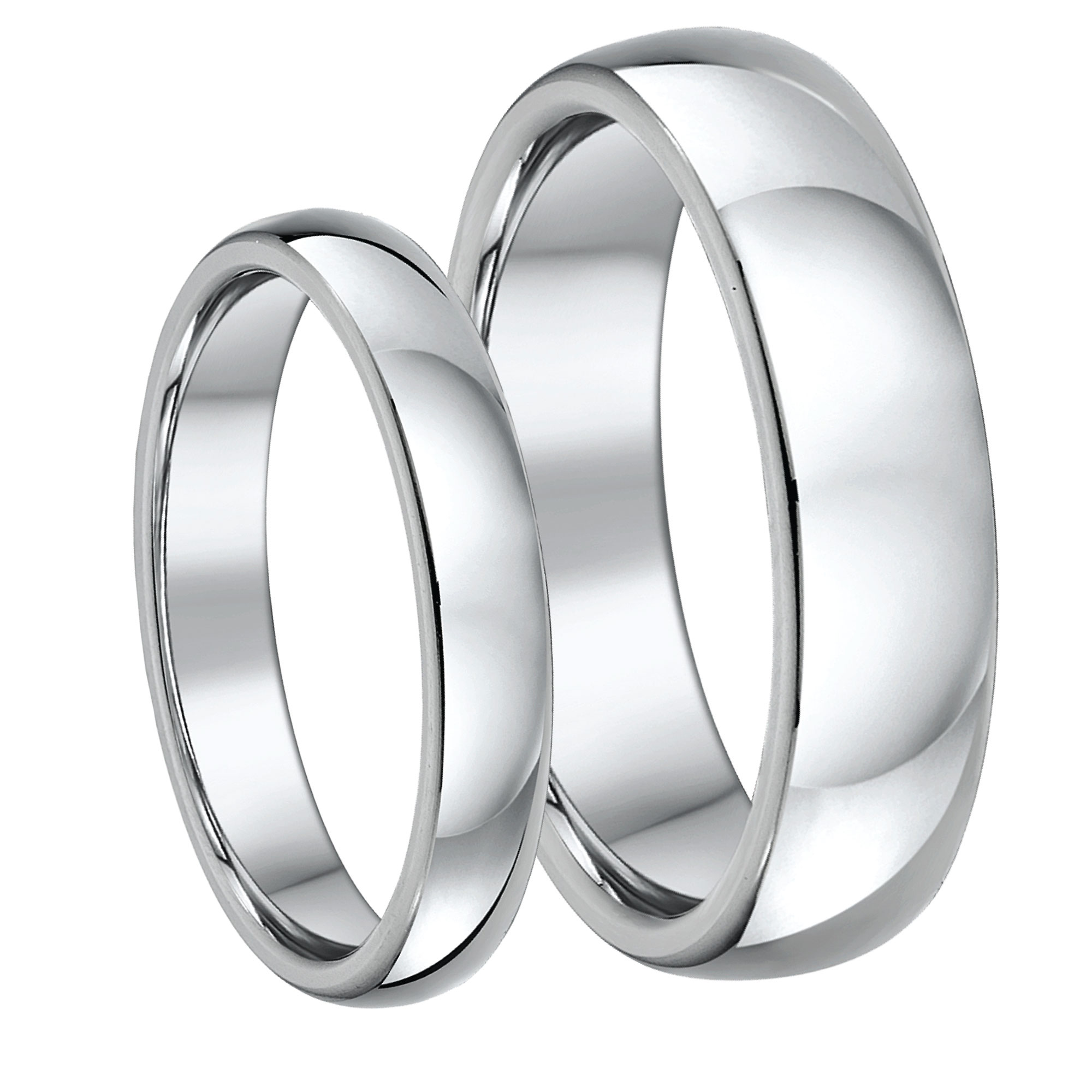"His & Hers 3&5mm Palladium 950 ""D"" Shaped Wedding Rings"
