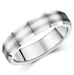 5mm Titanium and Silver Bevelled Edge Wedding Ring Band