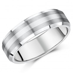 7mm Titanium and Silver Bevelled Edge Wedding Ring Band