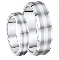 5&7mm Titanium and Silver His Hers Bevelled Edge Wedding Rings