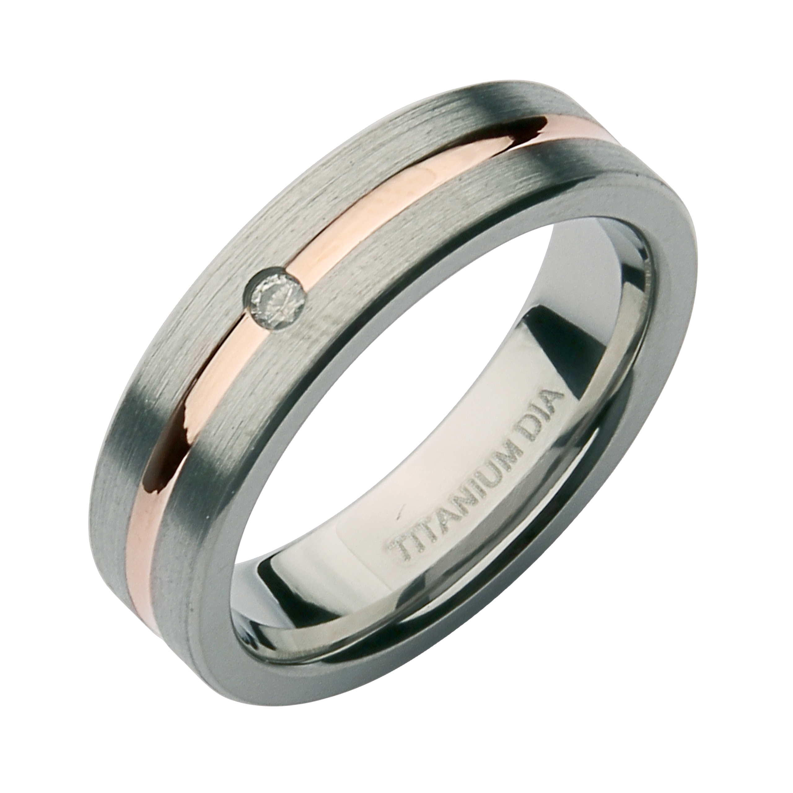 6mm Titanium Two Tone 0.05ct Diamond Ring