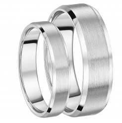 His and Hers Rings Bevelled Edge Titanium Engagement Wedding Rings 5&7mm