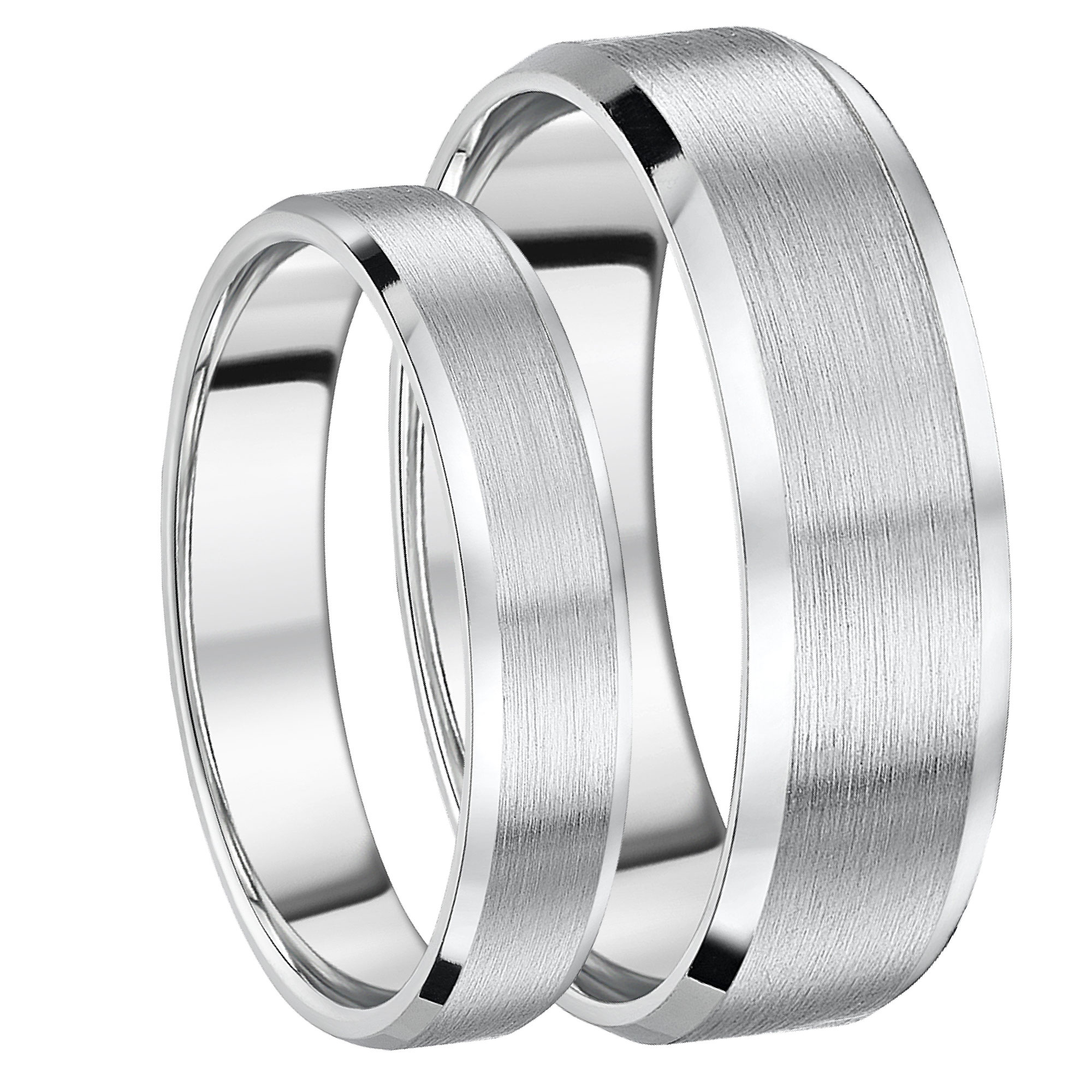 This is a graphic of His and Hers Rings Bevelled Edge Titanium Engagement Wedding Rings