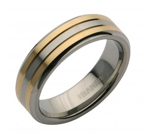 6mm Titanium Two Tone Wedding Ring Band