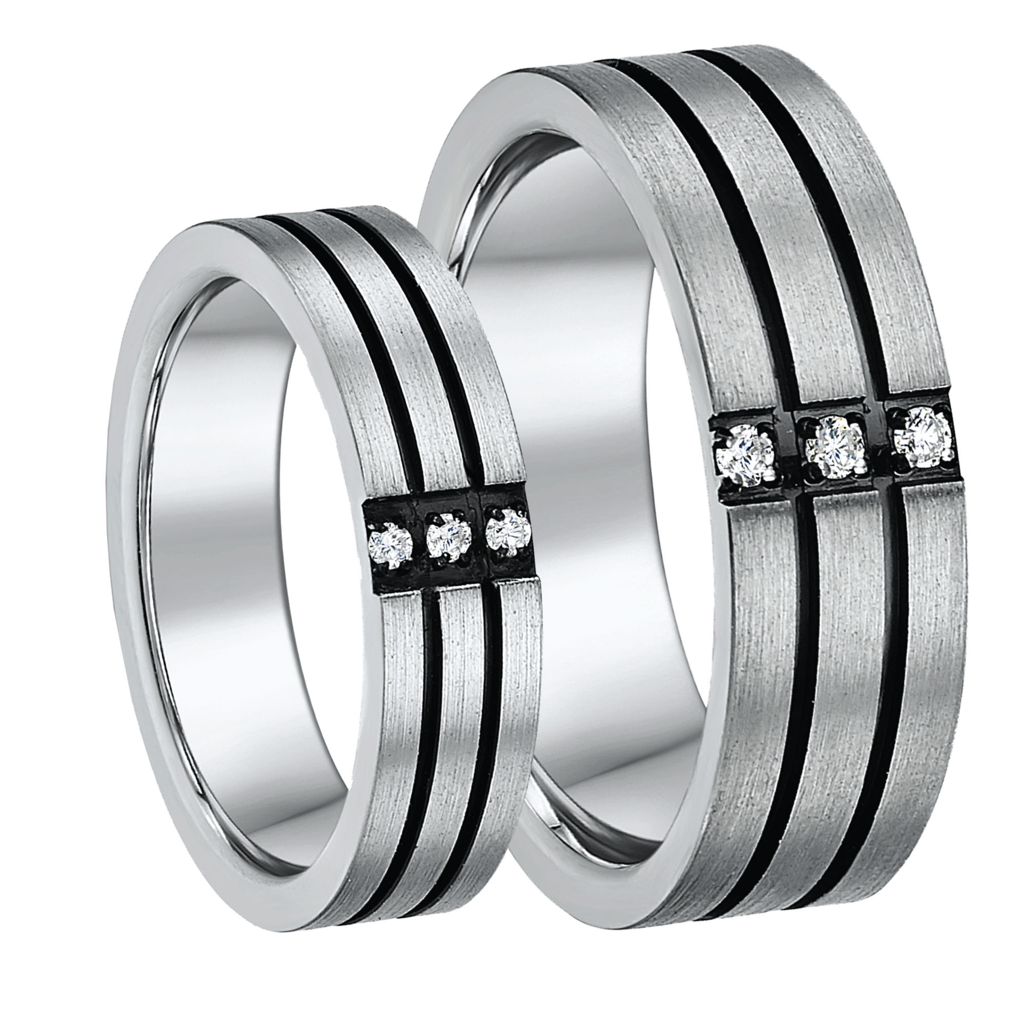 His & Hers 5&7mm Titanium Three Diamond Black Grooved Wedding Ring Set