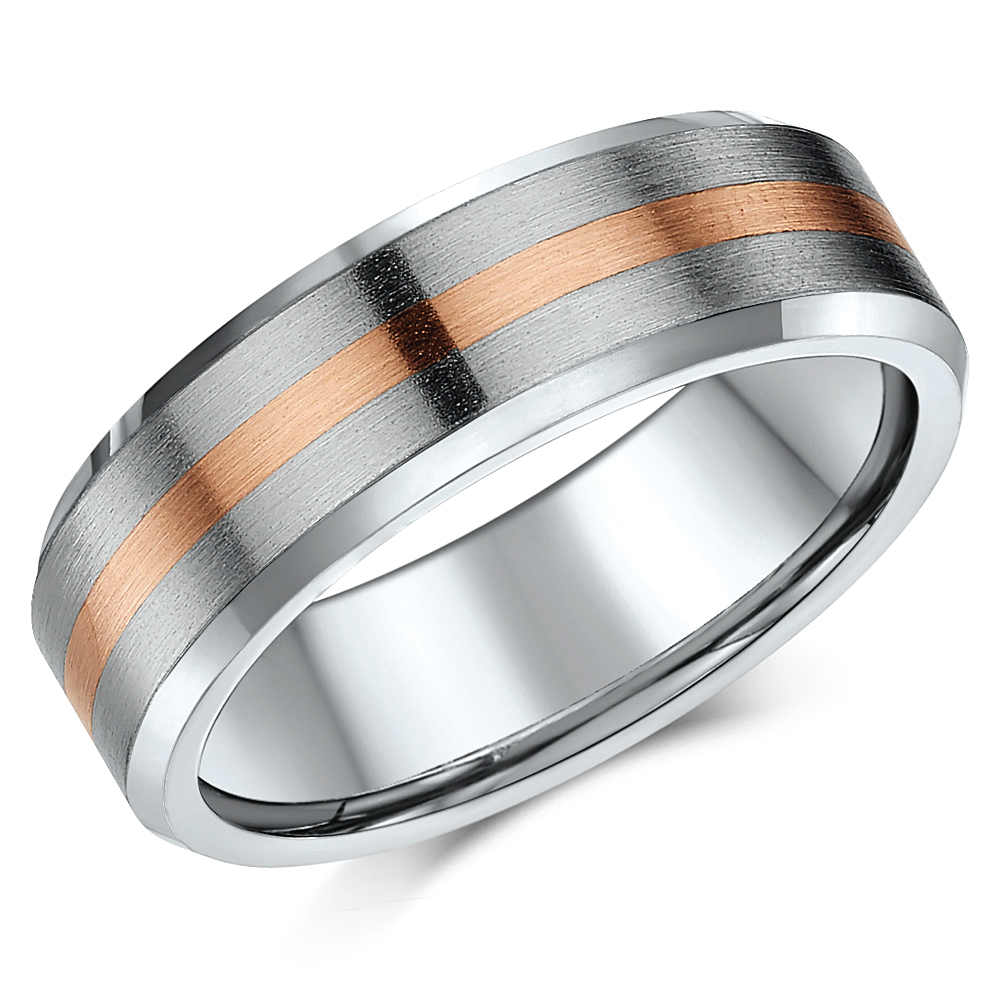 'Sale limited stock' 7mm Titanium & 9ct Rose Gold Wedding Ring Band