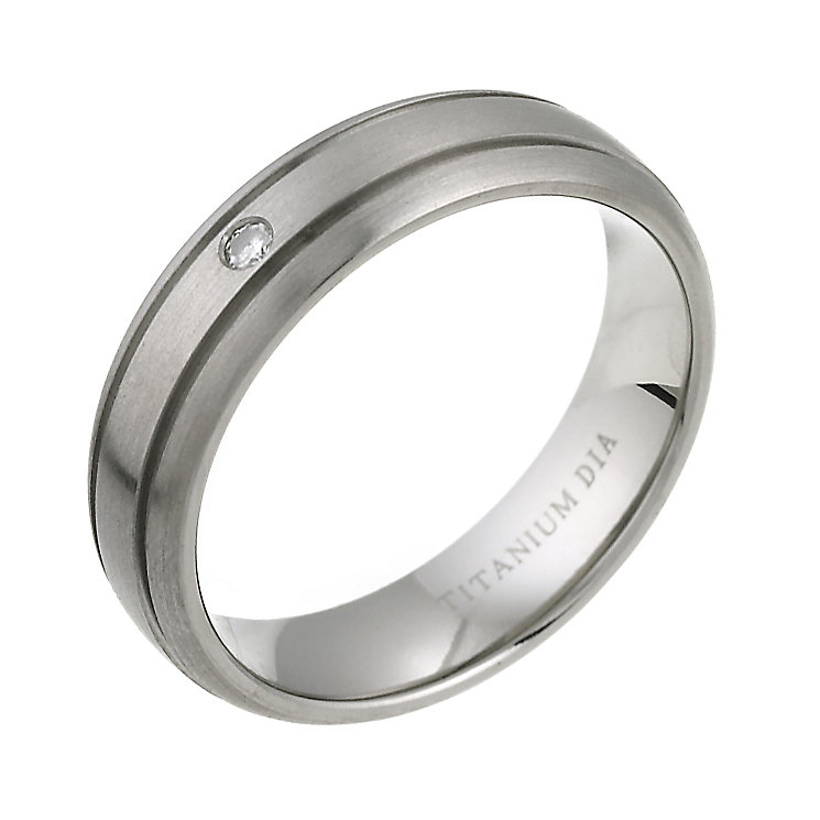 6mm Grooved Titanium Court Shape Diamond Wedding ring