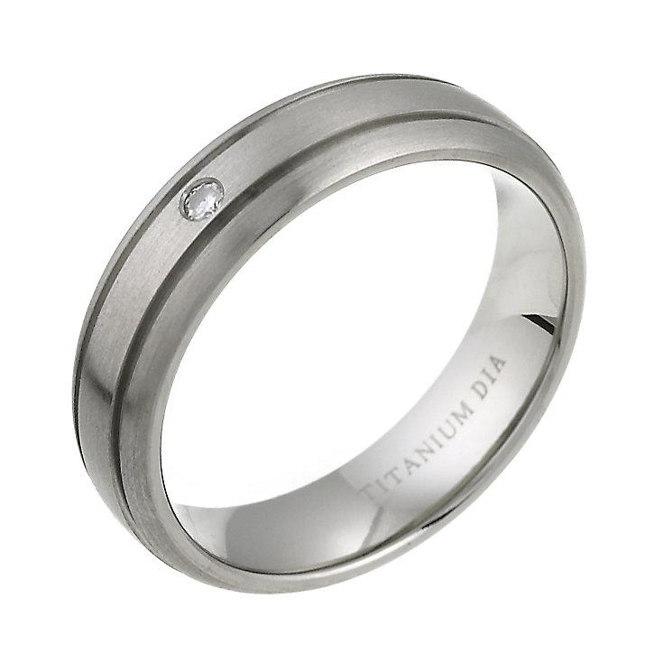 6mm Grooved Titanium Court Shape Diamond Wedding ring Titanium