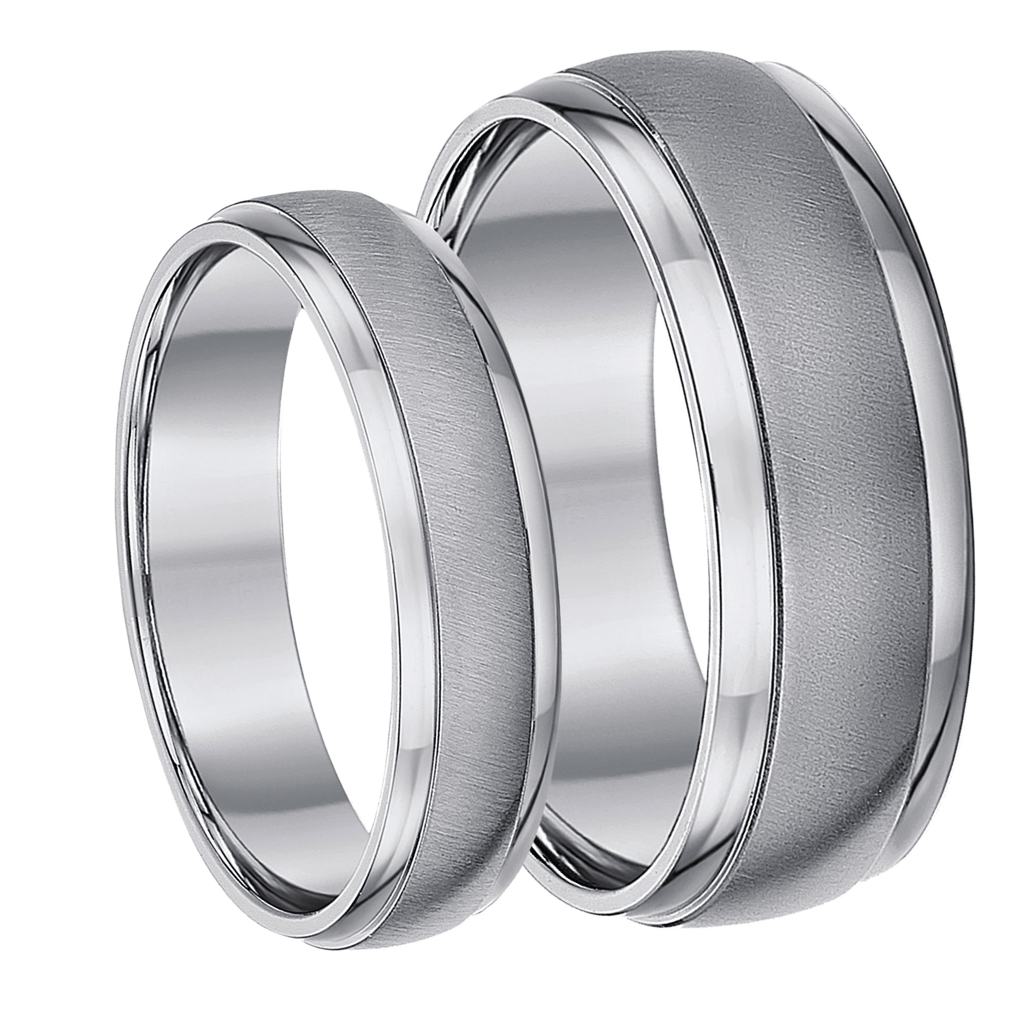 Titanium Matt and Polished Wedding Bands 5&7mm
