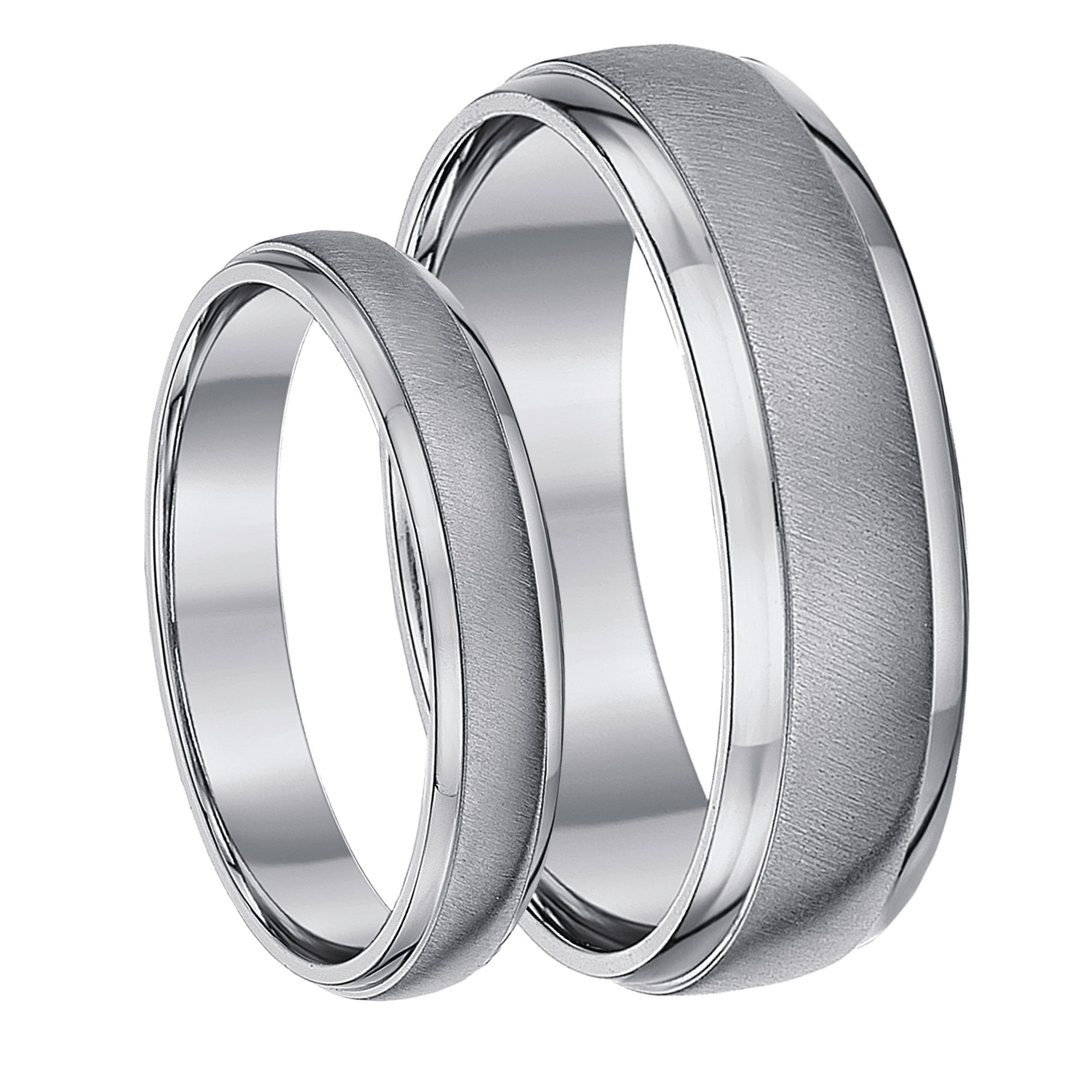 His & Hers Titanium Matt & Polished Wedding Rings 4&6mm