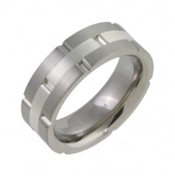 7mm Titanium & Silver Flat Court Shape Wedding Ring