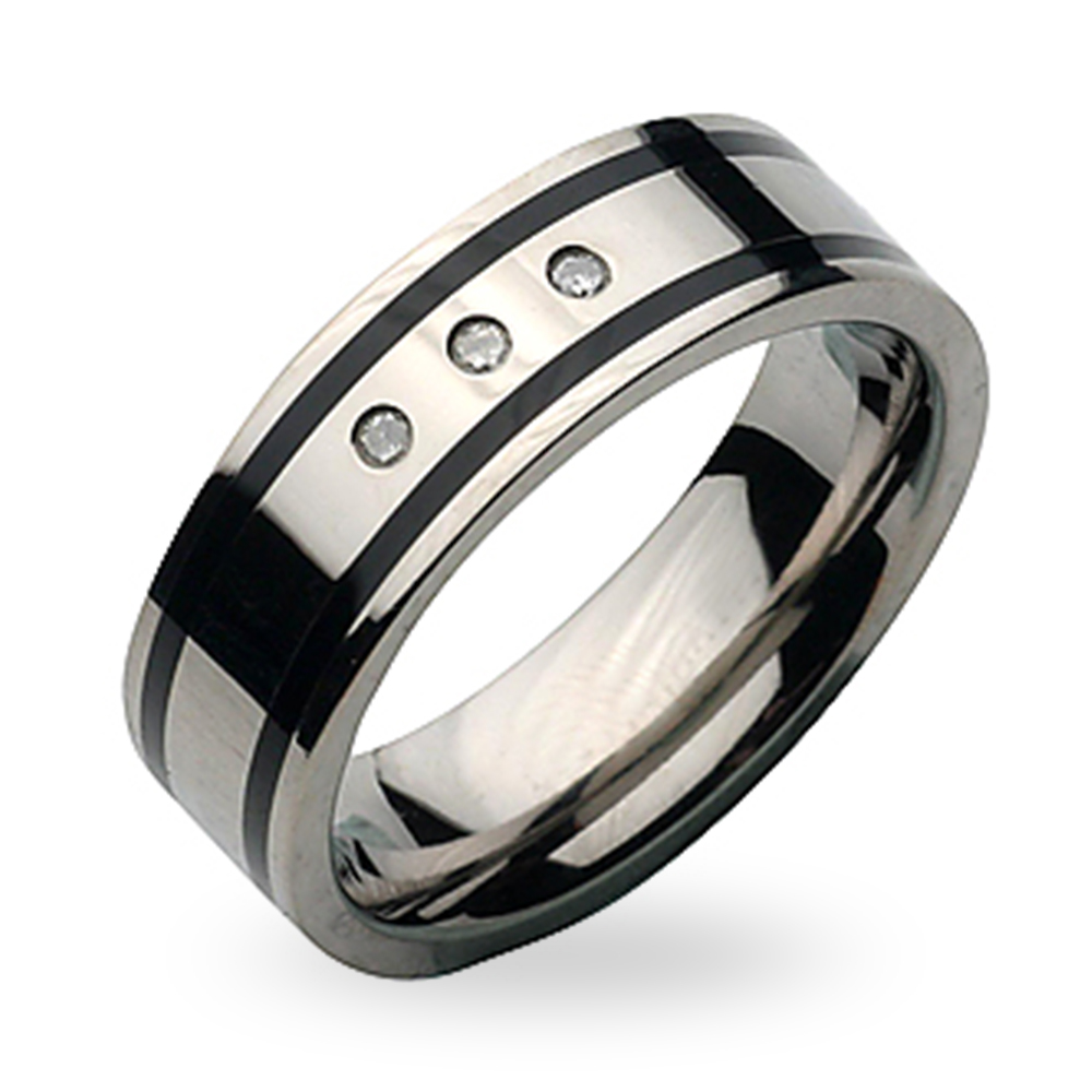 7mm Titanium & Enamel Diamond Ring