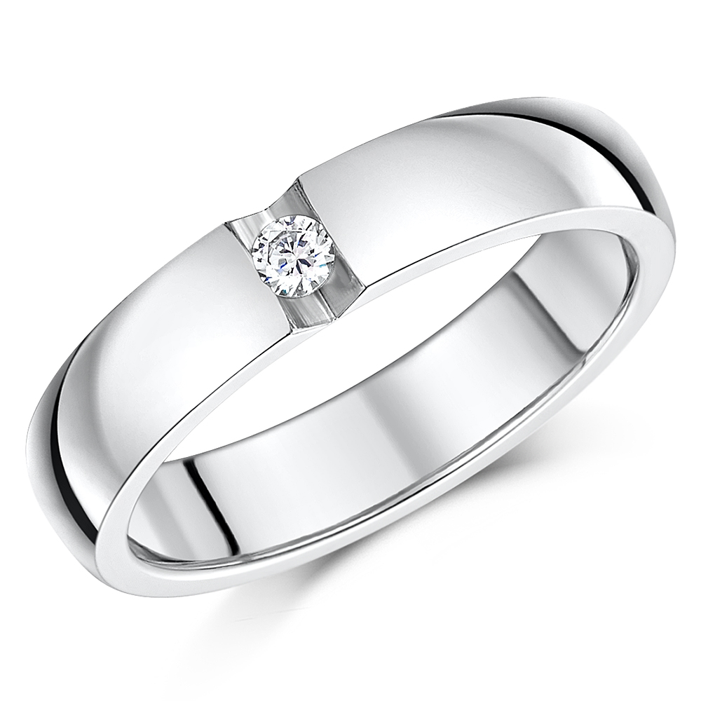 5mm Titanium CZ Stone Engagement/Wedding Ring Band