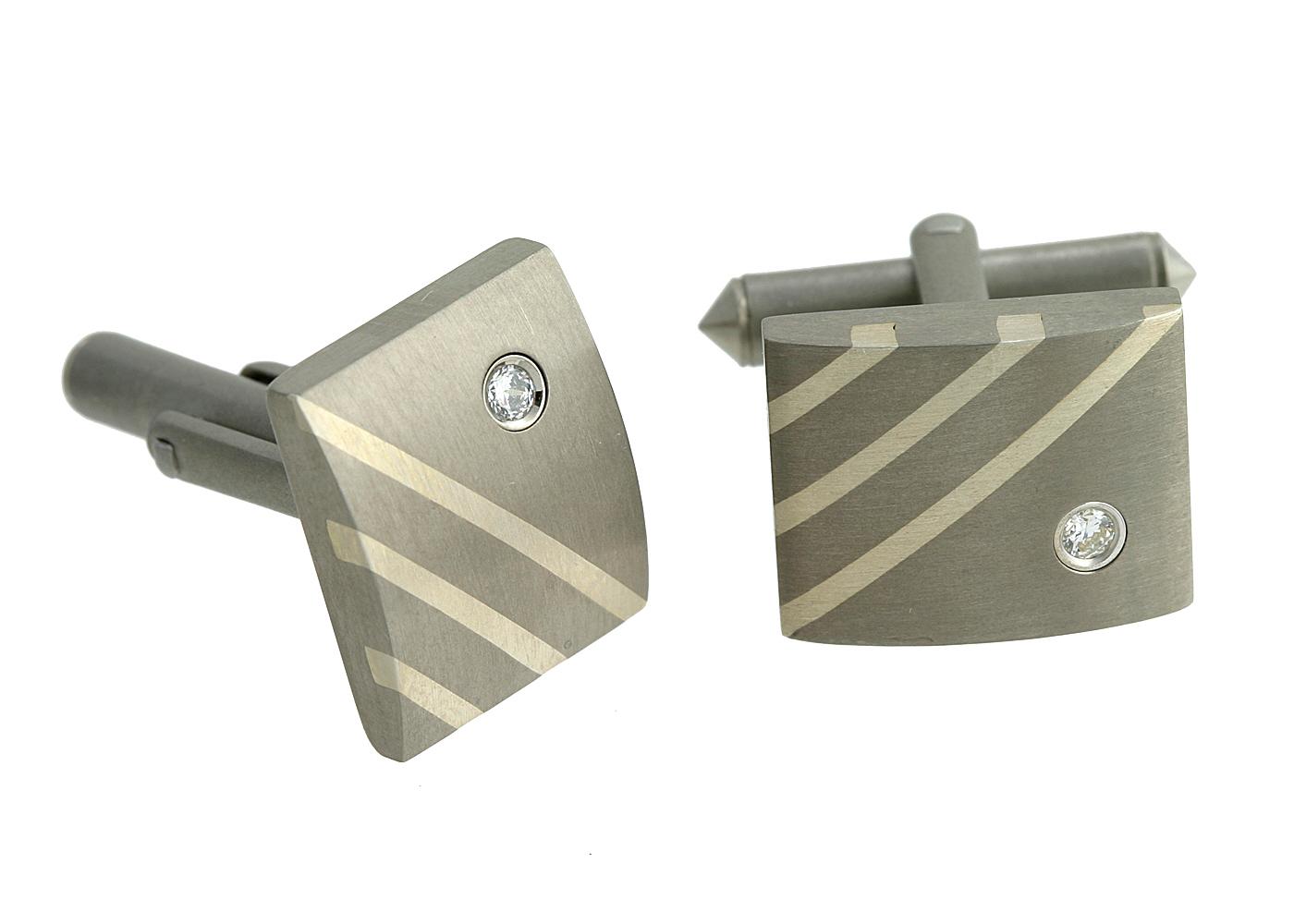 Titanium Silver Enamel CZ Cufflink