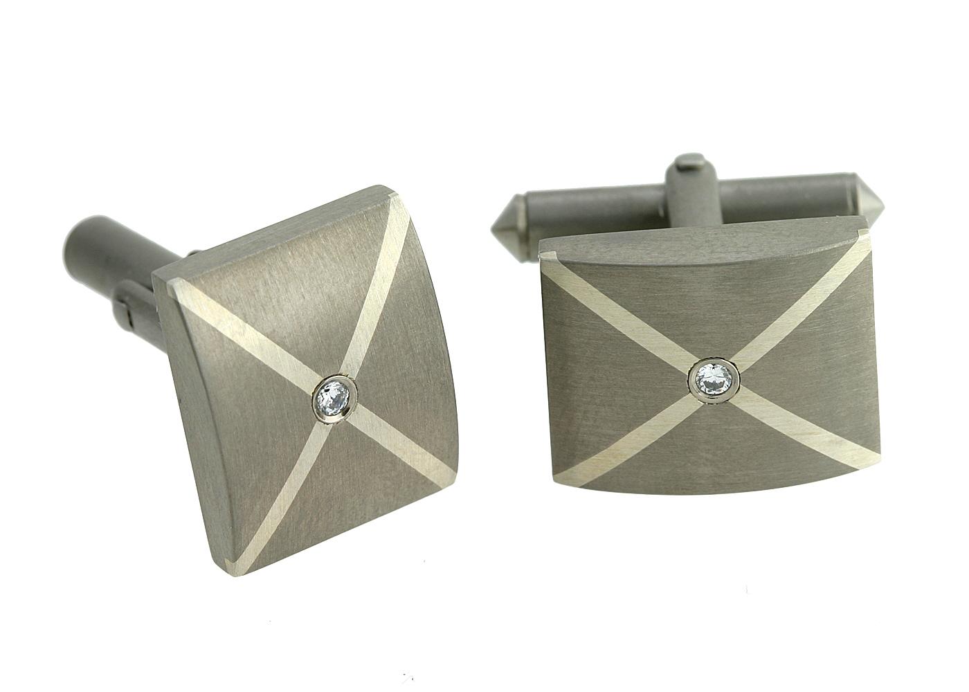 Titanium CZ Cross Cufflinks