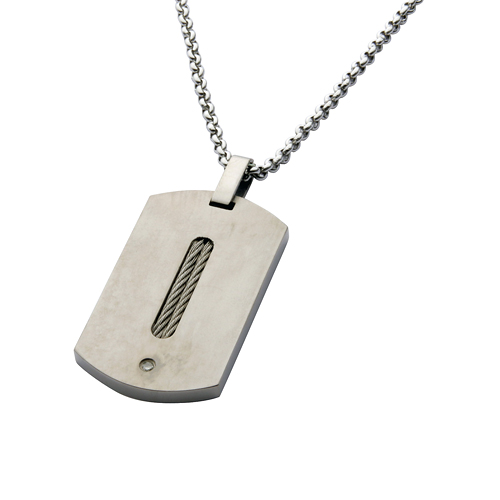 Mens Titanium Diamond Dog Tag Necklace
